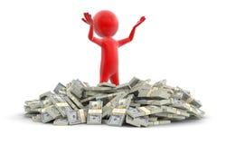 Σωρός των δολαρίων και του ατόμου (πορεία ψαλιδίσματος συμπεριλαμβανόμενη) Στοκ εικόνες με δικαίωμα ελεύθερης χρήσης