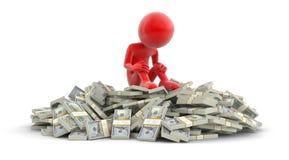 Σωρός των δολαρίων και του ατόμου (πορεία ψαλιδίσματος συμπεριλαμβανόμενη) Στοκ εικόνα με δικαίωμα ελεύθερης χρήσης