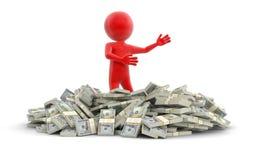 Σωρός των δολαρίων και του ατόμου (πορεία ψαλιδίσματος συμπεριλαμβανόμενη) Στοκ Εικόνες