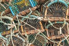 Σωρός των παγίδων δοχείων καβουριών αστακών Στοκ Εικόνες
