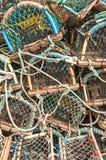 Σωρός των παγίδων δοχείων καβουριών αστακών Στοκ φωτογραφία με δικαίωμα ελεύθερης χρήσης