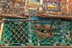 Σωρός των παγίδων δοχείων καβουριών αστακών Στοκ Εικόνα