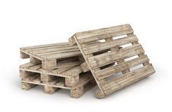 Σωρός των παλαιών ξύλινων παλετών που απομονώνονται σε ένα λευκό τρισδιάστατος Στοκ Εικόνες