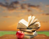 Σωρός των παλαιών βιβλίων με το κόκκινο μήλο Στοκ εικόνα με δικαίωμα ελεύθερης χρήσης