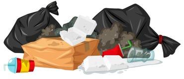Σωρός των σκουπιδιών με τον αφρό και το πλαστικό ελεύθερη απεικόνιση δικαιώματος