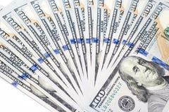 Σωρός των τραπεζογραμματίων εκατό δολαρίων ως υπόβαθρο χρημάτων στοκ εικόνες