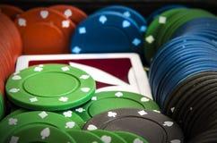 Σωρός των τσιπ πόκερ Στοκ Φωτογραφία
