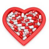 Σωρός των χαπιών υγειονομικής περίθαλψης στην κόκκινη μορφή καρδιών τρισδιάστατη απόδοση διανυσματική απεικόνιση