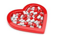 Σωρός των χαπιών υγειονομικής περίθαλψης στην κόκκινη μορφή καρδιών τρισδιάστατη απόδοση απεικόνιση αποθεμάτων