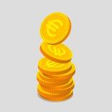 Σωρός των χρυσών νομισμάτων με τα ευρο- σημάδια ελεύθερη απεικόνιση δικαιώματος