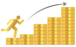 Σωρός των χρυσών νομισμάτων διανυσματική απεικόνιση