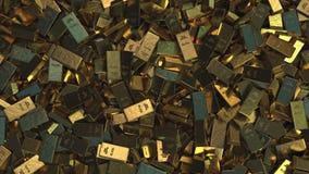 Σωρός των χρυσών ράβδων, κορυφή κάτω από την άποψη απόθεμα βίντεο