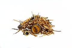 Σωρός των χρυσών ραδιο συστατικών Στοκ εικόνες με δικαίωμα ελεύθερης χρήσης