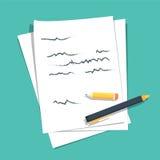Σωρός φύλλων εγγράφου με γραπτό το περίληψη κείμενο διανυσματική απεικόνιση