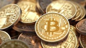 Σωρός Bitcoins με το μεταβαλλόμενο βάθος του τομέα ελεύθερη απεικόνιση δικαιώματος