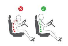 Σωστή θέση συνεδρίασης στην οδήγηση ελεύθερη απεικόνιση δικαιώματος