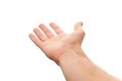 Σωστό αρσενικό χέρι με την κενή θέση για την εκμετάλλευση κάτι Στοκ Εικόνες