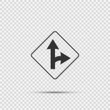 Σωστό διασπασμένο σημάδι στροφής στο διαφανές υπόβαθρο απεικόνιση αποθεμάτων