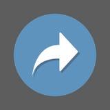 Σωστό, μπροστινό επίπεδο εικονίδιο βελών Στρογγυλό ζωηρόχρωμο κουμπί, κυκλικό διανυσματικό σημάδι με την επίδραση σκιών Επίπεδο σ Στοκ Εικόνα