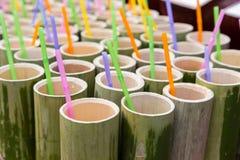 Σωλήνας μπαμπού και ζωηρόχρωμα πλαστικά άχυρα κατανάλωσης Στοκ Εικόνες