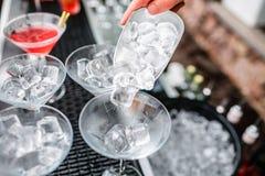 Σωλήνας πάγου στον κάδο Κόμμα Coctail Στοκ Φωτογραφία