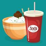 Σόδα με τις επιλογές γρήγορου φαγητού ρυζιού απεικόνιση αποθεμάτων