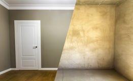 Σύγκριση ενός δωματίου σε ένα διαμέρισμα πριν και μετά από την ανακαίνιση στοκ εικόνα με δικαίωμα ελεύθερης χρήσης