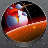 Σύγκρουση asteroid με τον πλανήτη Ένα βλέμμα από το διαστημόπλοιο απεικόνιση αποθεμάτων