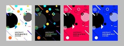 Σύγχρονα αφηρημένα πρότυπα σχεδίου καλύψεων καθορισμένα Ελάχιστες γεωμετρικές συνθέσεις μορφών για το ιπτάμενο, το έμβλημα, το φυ απεικόνιση αποθεμάτων