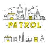 Σύγχρονα βενζίνης βιομηχανίας λεπτά φραγμών εικονίδια και compositio γραμμών επίπεδα Στοκ Εικόνα