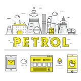 Σύγχρονα βενζίνης βιομηχανίας λεπτά φραγμών εικονίδια και compositio γραμμών επίπεδα Στοκ Φωτογραφία
