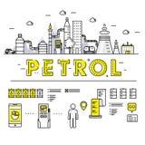 Σύγχρονα βενζίνης βιομηχανίας λεπτά φραγμών εικονίδια και compositio γραμμών επίπεδα Στοκ Φωτογραφίες