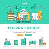 Σύγχρονα βενζίνης βιομηχανίας λεπτά φραγμών εικονίδια χρώματος γραμμών επίπεδα και comp Στοκ εικόνες με δικαίωμα ελεύθερης χρήσης