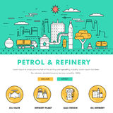 Σύγχρονα βενζίνης βιομηχανίας λεπτά φραγμών εικονίδια χρώματος γραμμών επίπεδα και comp Στοκ εικόνα με δικαίωμα ελεύθερης χρήσης
