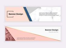 Σύγχρονα γεωμετρικά εμβλήματα Ιστού Σχέδιο μόδας με τα τρίγωνα, γραμμές, μαρμάρινη σύσταση Οριζόντιο πρότυπο για την επιχείρηση,  ελεύθερη απεικόνιση δικαιώματος