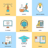 Σύγχρονα εικονίδια γραμμών εκπαίδευσης Στοκ φωτογραφία με δικαίωμα ελεύθερης χρήσης