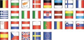 Σύγχρονα εικονίδια σημαιών της ΕΕ Στοκ Φωτογραφία