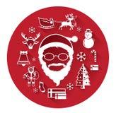 Σύγχρονα επίπεδα εικονίδια Άγιου Βασίλη και της ημέρας των Χριστουγέννων Στοκ Φωτογραφία