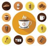 Σύγχρονα επίπεδα εικονίδια καφέ που τίθενται με τη μακροχρόνια επίδραση σκιών Στοκ Εικόνα
