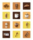 Σύγχρονα επίπεδα εικονίδια καφέ που τίθενται με τη μακροχρόνια επίδραση σκιών Στοκ Φωτογραφία