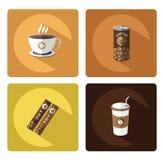 Σύγχρονα επίπεδα εικονίδια καφέ που τίθενται με τη μακροχρόνια επίδραση σκιών Στοκ Φωτογραφίες