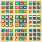 Σύγχρονα επίπεδα εικονίδια συλλογής με την οικονομία σκιών Στοκ Εικόνες