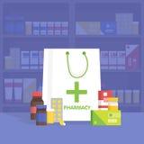 Σύγχρονα εσωτερικά φαρμακείο και φαρμακείο Διανυσματική απλή απεικόνιση Ελεύθερη απεικόνιση δικαιώματος