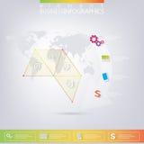 Σύγχρονα ζωηρόχρωμα τρίγωνα σχεδίου infographic με απεικόνιση αποθεμάτων