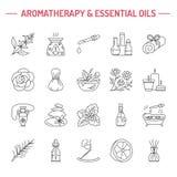 Σύγχρονα διανυσματικά εικονίδια γραμμών των aromatherapy και ουσιαστικών πετρελαίων απεικόνιση αποθεμάτων