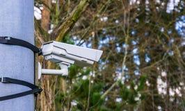 Σύγχρονα κάμερα παρακολούθησης που τοποθετούνται σε έναν απλό τρόπο με τις ζώνες, την ασφάλεια στη φύση και τα πάρκα στοκ εικόνες