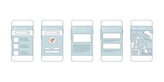 Σύγχρονα κινητά τηλέφωνα με τα διαφορετικά στοιχεία ενδιάμεσων με τον χρήστη Στοκ εικόνα με δικαίωμα ελεύθερης χρήσης