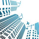 Σύγχρονα κτήρια και γυαλί γραφείων κάτω από τις σκιαγραφίες οικοδόμησης Στοκ εικόνες με δικαίωμα ελεύθερης χρήσης