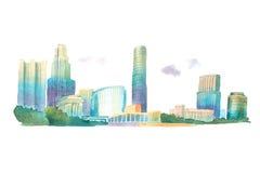 Σύγχρονα κτήρια στην αστική απεικόνιση watercolor άποψης γωνίας πόλεων χαμηλή διανυσματική απεικόνιση