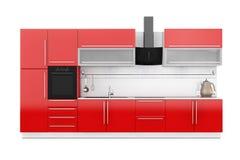 Σύγχρονα κόκκινα έπιπλα κουζινών με το σκεύος για την κουζίνα τρισδιάστατη απόδοση διανυσματική απεικόνιση